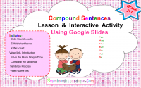 Distance Learning  Compound Sentences interactive activities using Google slides