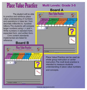 Place Value Practice Smartboard  Lesson Grades 3-5